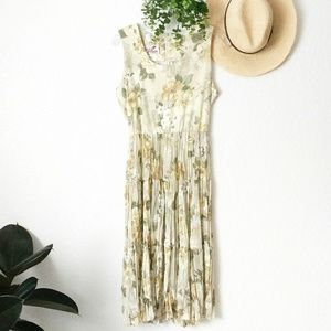 80-90s Vintage Floral Fit/Flare Midi Sun Dress M